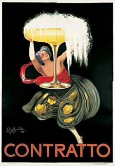 Iconic vintage poster by artist Leonetto Cappiello from 1922 that depicts a woman smiling up at an overflowing glass of sparkling wine from Contratto.