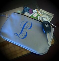 The  thing to carry when a purse is too much. And the monogram is the perfect touch. These leather wristlets come in four colors. Etsy.com/SoBlank