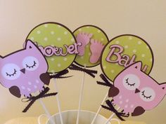 Baby Shower Owl Table Decorations/Cake Toppers - 5 piece set (Matches Baby Girl Owl Set). $9.50, via Etsy.