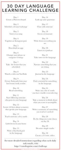 30 Day Language Learning Challenge   Eurolinguiste