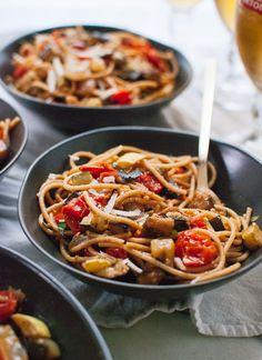 Simple, spicy roasted ratatouille spaghetti - cookieandkate.com