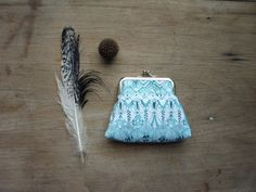 Teal purse owl feather coin purse aqua clutch by maplemist on Etsy