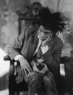 Cool People Love Cats Blog. Jean-Michel Basquiat with a cat.