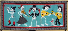 MARIACHI DE LOS MUERTOS by Nancy Arseneault...part of the 100 years/100 quilts exhibit at Arizona Historical Society Museum in Tucson