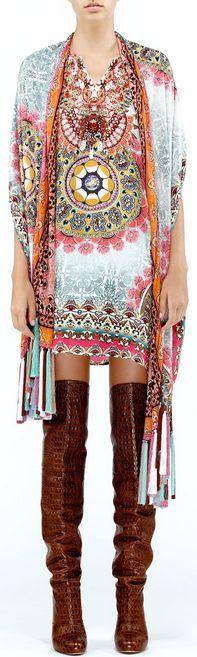 boho mandala print top - thigh high boots,boho kimonocardigan spring colors bright and fun