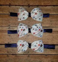 Arrow Hair Bow Headband or Hair Clip Navy by SouthernBelleCre2014