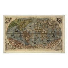 Antique Map of the World as of 1565 Poster