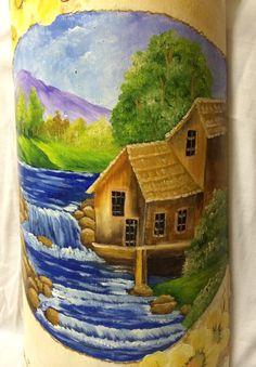 pintura em telha paisagem - Pesquisa Google