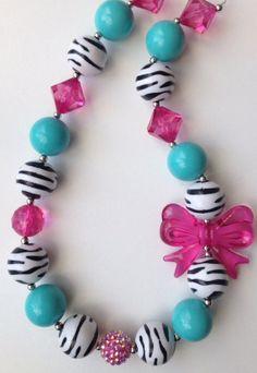 Zebra Chunky bead necklace..chunky necklace..kids by GirlzNGlitter, $16.50