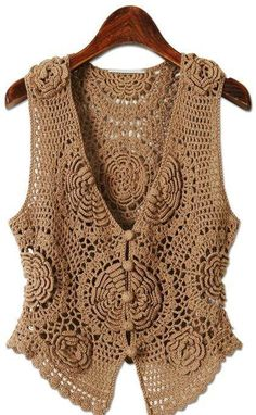 Crochet Shawl Vest Inspiration New Ideas Crochet Bolero, Crochet Waistcoat, Gilet Crochet, Crochet Jacket, Crochet Cardigan, Knit Crochet, Flower Crochet, Crochet Tops, Irish Crochet