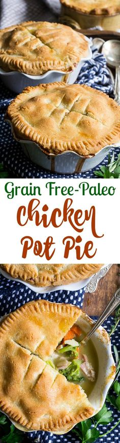 This Paleo Chicken Pot Pie has a delicious buttery flaky crust and creamy, savory filling packed with chicken and veggies. It's the perfect comfort food for cold nights and can be made ahead of time too! Gluten free, grain free, dairy-free option and kid approved.