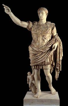 Augusto di prima porta. Statua in marmo a tutto tondo , I sec d.C. / I sec a.C: