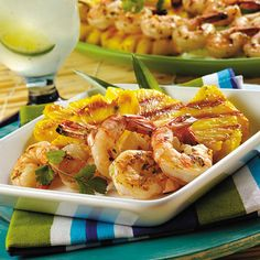 Margarita Grilled Shrimp // Shrimp and pineapple get a quick burst of flavor from limeade concentrate, jalapeño and garlic.