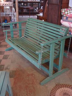 Antique 1940s Painted Oak Porch Large Glider Swing