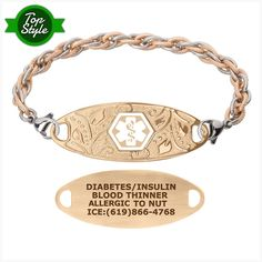 Steel Hearts Pre-Engraved /& Customizable Diabetic Ladys Toggle Medical Bracelet White My Identity Doctor