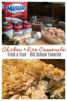 MAMAW'S CHICKEN & RICE CASSEROLE - Wonderful tried and true , old school recipe that's big on taste and comfort and a cinch to make! Perfect for a busy day, potlucks or a special delivery to fa Easy Chicken And Rice, Cream Of Chicken Soup, Easy Chicken Rice Casserole, Chicken And Rice Crockpot, Chicken Rice Bake, Cream Of Mushroom Chicken, Chicken And Rice Dishes, Chicken Rice Recipes, Chicken Ideas