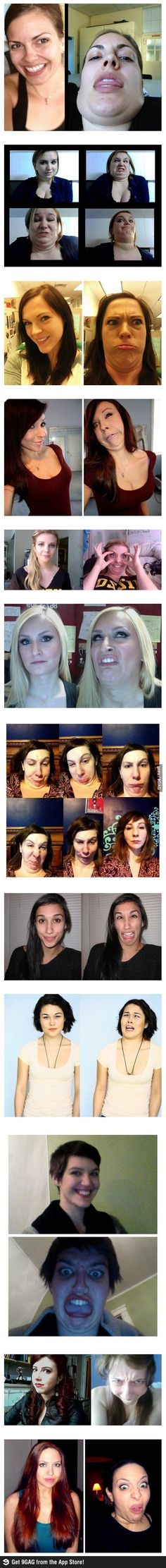 This is AMAZING! I hate it when girls freak out over an ugly picture. Everyone is capable of making these faces. It's hilarious!