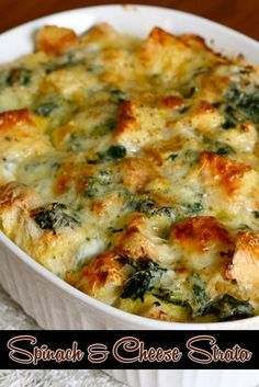spinach-and-cheese-strata - Christmas Morning Brunch Ideas for Christmas Morning.-spinach-and-cheese-strata – Christmas Morning Brunch Ideas for Christmas Morning… spinach-and-cheese-strata – Christmas Morning Brunch… - Breakfast And Brunch, Breakfast Dishes, Breakfast Recipes, Breakfast Strata, Breakfast Casserole, Breakfast Ideas, Brunch Food, Breakfast Spinach, Egg Strata