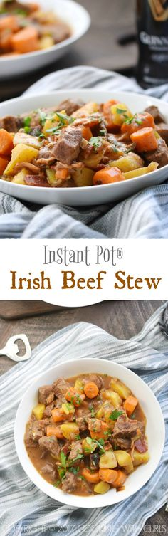 Instant Pot Irish Beef Stew is loaded with tender beef chunks, carrots, and potatoes in a rich gravy that will make the whole family happy! COPYRIGHT © 2017 COOKING WITH CURLS #instantpot #comfortfood