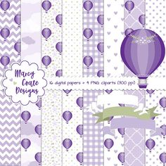 Purple Hot Air Balloon digital paper, Purple Hot Air Balloon clipart, commercial use OK for planners, stickers, scrapbooking, cards, etc.