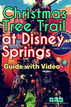 Disney Springs at Christmas in Orlando Florida is a can't miss experience! One of the best parts is the Christmas tree trail, with amazing trees themed to Disney movies (like Toy Story, Star Wars Best Family Vacations, Family Vacation Destinations, Vacation Deals, Disney World Vacation, Disney Trips, Disney Parks, Christmas Travel, Holiday Travel, Christmas Holiday
