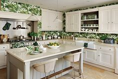 palm print wallpaper kitchen - freshome.com