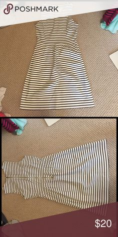 Like New J.Crew Stripe nautical fit & flare dress! This is a gorgeous striped dress perfect for summer! It is cinched at the waist and has a zipped back. It is in excellent condition, almost like New. I am only selling these because I'm cleaning out my closet to make some space. J. Crew Dresses Mini