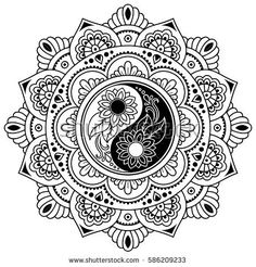 Vector henna tatoo mandala. Yin-yang decorative symbol. Mehndi style. Mehndi style. Decorative pattern in oriental style. Coloring book page.
