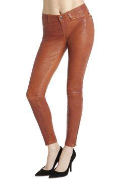 cognac leather skinnies from @JBrandJeans