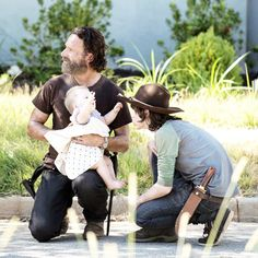 """ Andrew, Norman and Chandler + a cute baby, behind the scenes of 5x12."" - Fangirl - The Walking Dead Cast"