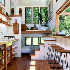In this tiny house is the living room upstairs. In this tiny house .In this tiny house there is the living room on the upper floor. In this tiny house there is the living room Tiny House Cabin, Tiny House Living, Tiny House Plans, Tiny House Design, Small Living, Tiny House Bedroom, Modern Tiny House, Tiny House With Loft, Tiny Home Floor Plans