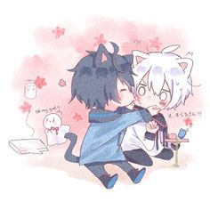 Soraru and Mafumafu Cute Anime Chibi, Cute Anime Pics, Anime Neko, Cute Anime Boy, Anime Child, Anime Art Girl, Cute Anime Profile Pictures, Neko Boy, Natsume Yuujinchou