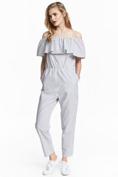dd07a32209e5 Off-the-shoulder jumpsuit - White Striped - Ladies