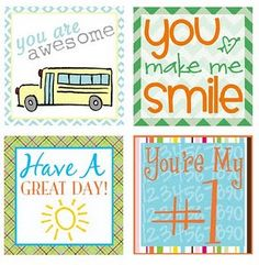 Printables for lunch boxes. Fill your kids' lunchbox with a little love note.