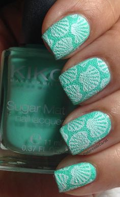 636 Mint from KIKO Sugar Mat collection stamped with Cheeky Jumbo plate #2 Tropical Holiday