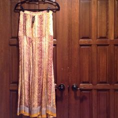 Maxi Skirt✂️ REDUCED From $63 to $40✂️ Silk tan/yellow animal print drop waist maxi skirt Tolani Skirts Maxi