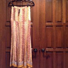 Maxi Skirt✂️ REDUCED From $63 to $50 ✂️ Silk tan/yellow animal print drop waist maxi skirt Tolani Skirts Maxi