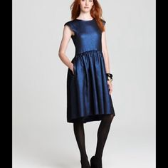 Marc by Marc Jacobs Blue Metallic Verushka dress NWT Marc by Marc Jacobs True Blue Metallic Verushka Lame Dress Sz 6 minor fabric flaws Color:  True Blue metallic Round neck Cap Sleeves Shirred and pleated drop waist Exposed gold tone back zip Side seam pockets Fully Lined Marc by Marc Jacobs Dresses Asymmetrical