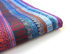Multicolor stripes silk brocade from India fabric nr door SilksByUmf