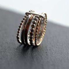 Traube VI. Silber und 14kt Gold gefüllt Ringe. Stapeln Ringe von LUNATICART