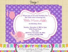 Pink+and+Purple+Elephant+Invitation++Use+by+SerendipityPrintable,+$12.00