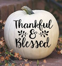 Grateful and Blessed Decal Fall Decal Thanksgiving Decal Thanksgiving Sticker Vinyl Decal Yeti Decal Fall Decor Fall Pumpkins, Halloween Pumpkins, Fall Halloween, Halloween Table, Halloween Snacks, Halloween Cupcakes, Halloween Crafts, Pumpkin Crafts, Fall Crafts