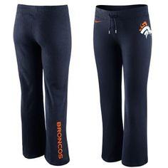 Nike Denver Broncos Women's Tailgater Fleece Pants: http://shop.denverbroncos.com/Denver_Broncos_Ladies/Nike_Denver_Broncos_Womens_Tailgater_Fleece_Pants_-_Navy_Blue