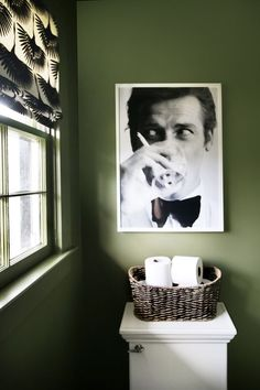 Love quirky art in the bathroom.  Thyme Green Walls, Roger Moore Art, Tonic Living Roman Shade