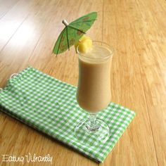This raw pina colada smoothie combines the creamy taste of coconut milk with the tang of fresh pineapple, melded together with banana, dates and vanilla.