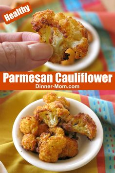 Parmesan Cauliflower Bites are a healthy snack that just happens to be low-carb and keto-friendly too! This melt-in-your-mouth recipe goes fast so make plenty! What Is Cauliflower, Baked Cauliflower Bites, Parmesan Cauliflower, Cauliflower Recipes, Clean Eating Snacks, Healthy Snacks, Low Carb Dinner Recipes, Keto Recipes, Dishes Recipes