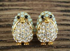 Women's Teen's Penguin Stud Earrings Animal Theme Gold Plated Crystal Aqua Cool Mint Green Nickel Free by authfashion, $12.30
