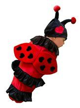 This Lexi the Ladybug Newborn Costume includes a red bunting with black lycra ruffles and attached red velour wings, and a black hat with antennae and heart detail.