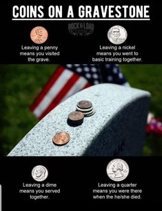 Something you might not know about military memorials. Something you might not know about military memorials. Something you might not know about military memorials. Coins on headstones. Military Ranks, Military Life, Military History, Navy Military, Military Tactics, Military Quotes, Military Humor, Usmc Quotes, Army Humor