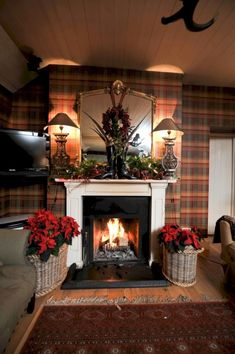 Ian Thompson Interiors Christmas decor with Tartan Plaid Wallpaper and a cool mantel display English Country Cottages, English Country Decor, Scottish Decor, Equestrian Decor, Rustic Fireplaces, Cottage Interiors, Tartan Plaid, Tartan Decor, Rustic Christmas